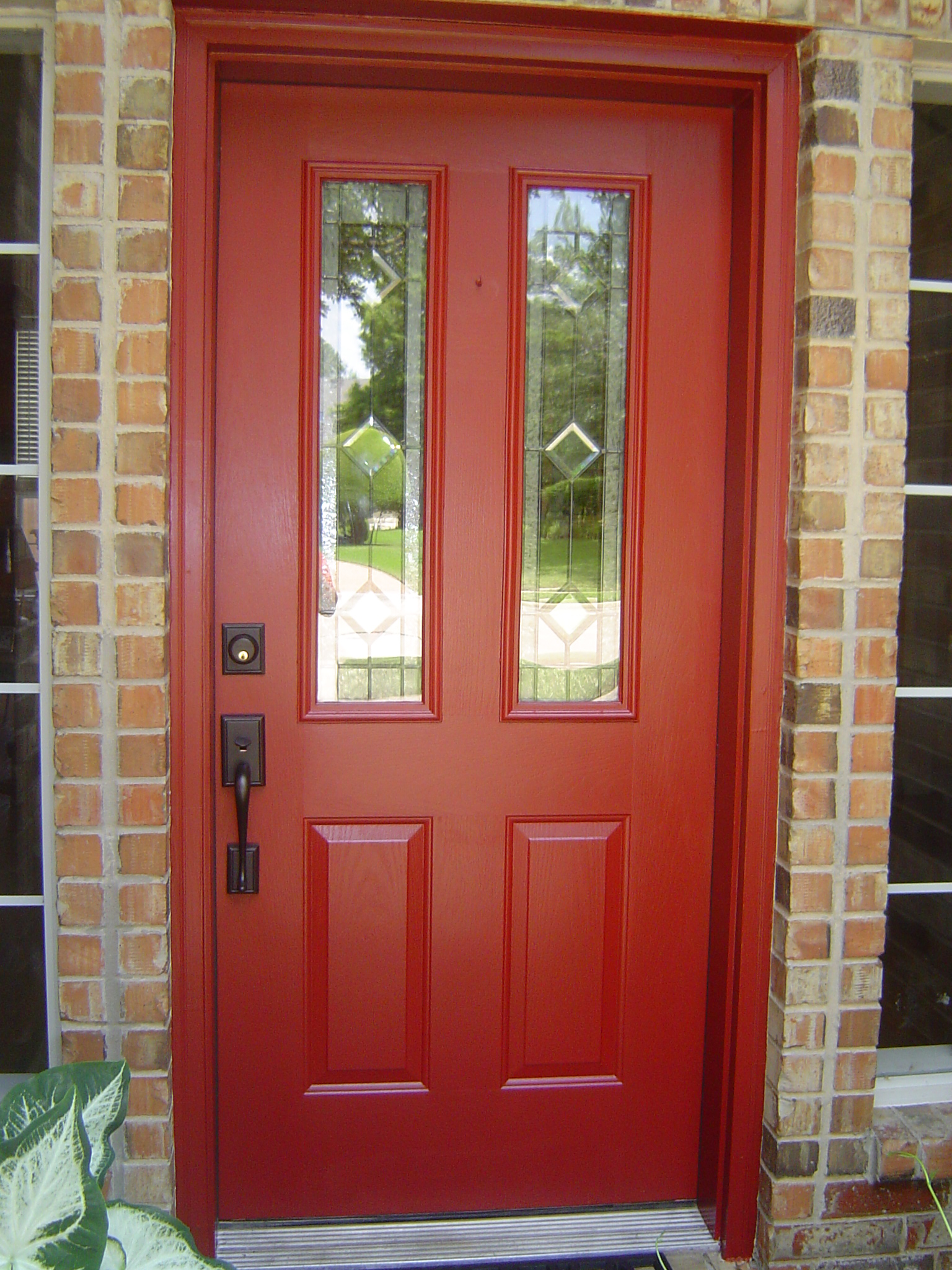 Red Front Doors Endearing Of Red Front Door Colors with Brick Image